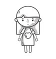 line tender girl child with pijama and hairstyle vector image vector image