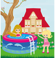 little girl in outdoor pool vector image vector image
