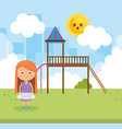 little girl in the park vector image
