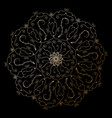 mandala golden round ornament on the black vector image vector image