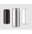 metallic cans realistic black silver and white vector image