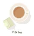 milk tea icon cartoon style vector image vector image