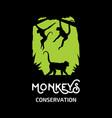 monkeys conservation logo vector image vector image