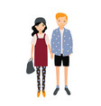 pair of adorable man and woman in trendy outfits vector image vector image