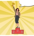 Pop Art Business Woman Standing on Podium vector image vector image
