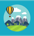 print with mountains and balloon vector image