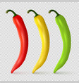 realistic red yellow and green hot natural vector image vector image