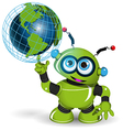 Robot and globe vector image vector image