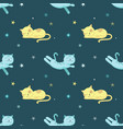 seamless pattern with cute sleeping cats vector image vector image