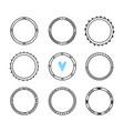 set 9 hand drawn frames cute circle wreaths vector image vector image