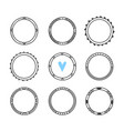 set of 9 hand drawn frames cute circle wreaths vector image vector image