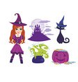 Set of accessories for the little witch vector image vector image