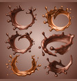 set of realistic splashes and drops of melted dark vector image