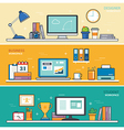 set thin line flat design workspace designer vector image