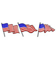 set waving usa flags vector image