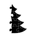 simple christmas tree made from puzzle vector image vector image