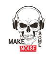 skull with headphones listen music vector image vector image
