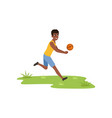 smiling african american man playing volleyball vector image vector image