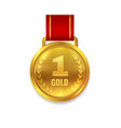 winner gold medal prize with red ribbon vector image