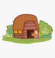 woman indigenous with turkey food and house vector image vector image