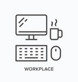 workplace line icon computer monitor keyboard vector image