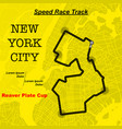 yellow ny map race track vector image vector image
