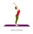 yogi woman in hasta uttanasana vector image vector image