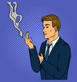man smokes cigarette pop art style vector image