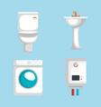 plumbing line set icons vector image