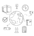 Delivery and shipping service sketched icons vector image