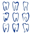 Abstract teeth set sketch cartoon vector image vector image