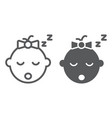 baby girl sleep line and glyph icon child vector image vector image
