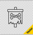 black line pirate flag icon isolated on vector image vector image