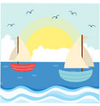 blue sea sailboat sunset background image vector image