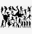 breakdance and hiphop training silhouette vector image vector image