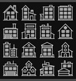 building icons set on black background line style vector image vector image