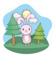 cute animal outdoors cartoon vector image vector image