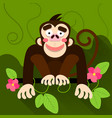 cute cartoon baby monkey hanging on tree vector image vector image
