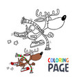 deer cartoon coloring page vector image vector image