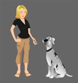 dog owner giving treat vector image vector image