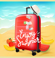 enjoy summer travel concept with calligraphic logo vector image vector image