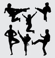 fight training silhouette vector image vector image