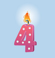 fourth birthday candle vector image vector image