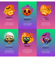 Halloween greeting cards vibrant set