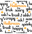 halloween words lettering seamless pattern white vector image vector image