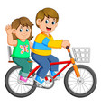 happy couple riding a bicycle vector image