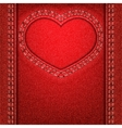 heart red denim vector image vector image