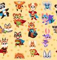 hero animals seamless pattern kids superhero vector image