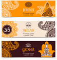 India culture 3 horizontal banners set vector image vector image