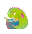 Kids vegetarian baby dragon eating cooking fun vector image vector image